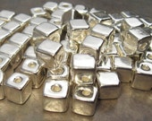 Silver 7mm Square Greek Ceramic Beads (10), Silver Nugget Cube Bead