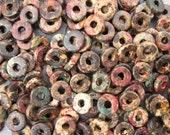 25 Mykonos Greek Ceramic Autumn Rust 8mm Round Washer Beads