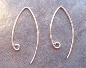 2 Bali Sterling Silver Marquise - Leaf Ear Wires  27mm x  14mm - 1 pairs