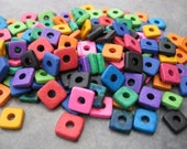 25 BRIGHT ASSORTMENT 8mm Square Washer Greek Ceramic Beads