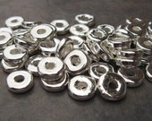 Greek Ceramic Beads 25 Silver Metalized 8mm Round Washer - Disk  Beads