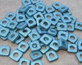 Shop Sale..25 DECO BLUE Greek Ceramic Beads 6mm Square Washers