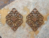 4 Filigree Diamond Connector - Chandelier - Trinity Vintage Patina