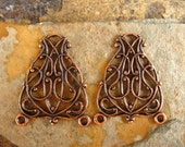 Trinity Brass Co.  Antique Copper Scroll Filigree Connectors 19mm x 24mm