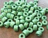 25 Greek Ceramic Mint Green Mini Tubes 6x4mm Large Holed Beads