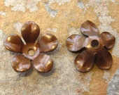 4 Trinity Vintage Patina 12mm  Flower Stamping -  Bead Cap -  Trinity Brass