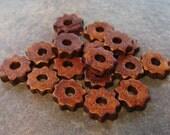 10 Mykonos Greek Ceramic Beads WOOD Tiny Gears