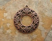 Shop Sale..2 Filigree Toggle Rings Antique Copper -  Trinity Brass  LOW SHIPPING