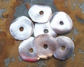 2 Greek Casting Silver 23mm Cornflake Beads, Wave Disk Bead