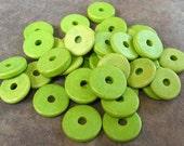 10 Key Lime Greek Ceramic Beads 13mm Round Washers