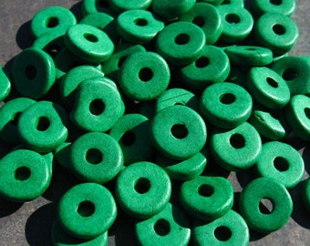 25 Bright Green Greek Ceramic Beads 8mm Washer Spacer Bead