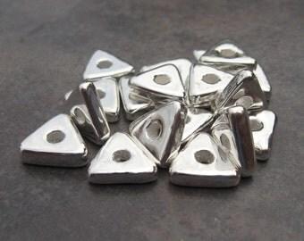 Silver Mykonos Ceramic Triangle Washer Metalized Beads - 10mm  (10)