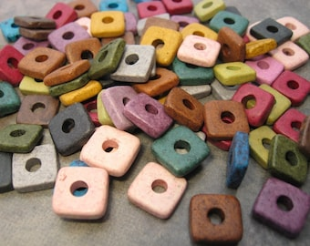 25 Mykonos Greek Ceramic Beads Earthy Assortment 8mm Square Beads