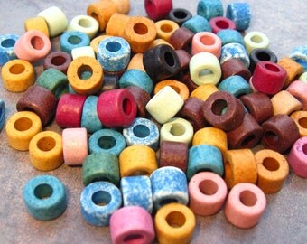25 Mykonos Greek Ceramic Earthy Assortment 6x4mm Mini Tube Beads