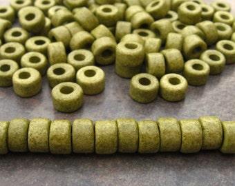 25 Light Olive  Greek Ceramic Beads - Large Holed Mini Tubes 6x4mm Beads