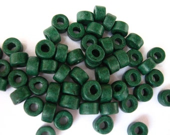 25 Dark Forest Green Greek Ceramic 6x4mm Mini Tube Pony Beads