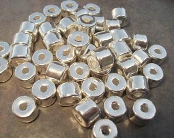 5 Silver Greek Ceramic 8x7mm Short Tubes Large Holed Metalized