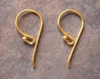 Vermeil Bali Earwires With Ball 24mm x 12mm  LOW SHIPPING