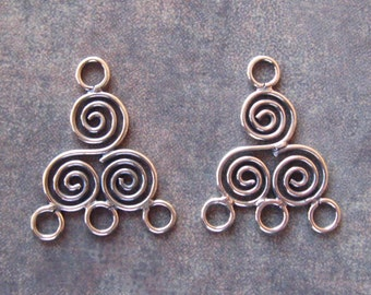 Bali Sterling Silver 3 Circles Chandelier Pair - 19.5mm x 16mm Reducer Connector
