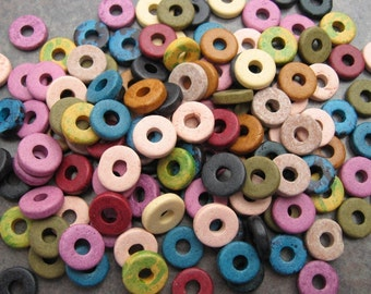 50 Greek Ceramic Beads - Earthy Assortment Ceramic Rondelles -  8mm Round Disks