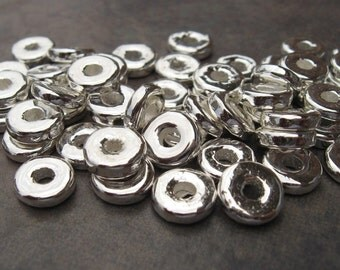50 Silver 8mm Round Washers - Greek Ceramic Metalized Beads