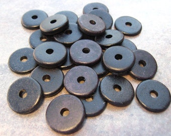 10 Greek Ceramic Beads - Black 13mm Round Washer Disk Beads