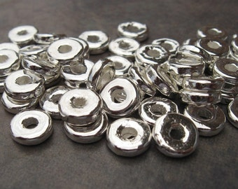 Mykonos Greek Ceramic Silver Metalized 8mm Round Washer Beads - 10
