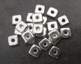 10 Silver Mykonos Greek Ceramic Beads, Square 8mm Washer Beads