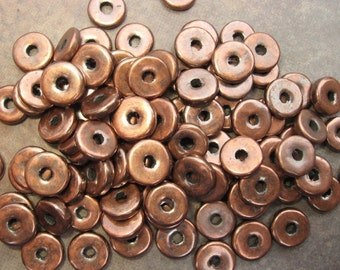 10 Bronze 8mm Spacers Rondelle Greek Ceramic Metalized Beads