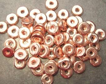 10 Mykonos Greek Ceramic Beads - Copper 8mm Round Washer - Disk  Beads