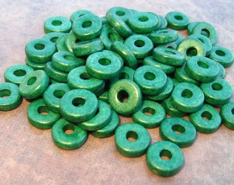 25 Mykonos Greek Ceramic Beads Dark Forest Green 8mm Round Washer Beads