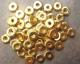 Gold 8mm Greek Ceramic Beads, Gold Round Washer Spacers, Pick Your Own Bulk Price