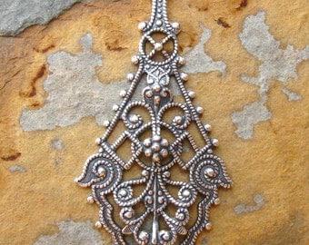 1 Trinity Brass Antique Silver Rebekah Pendant - Chandelier  25mm x 55mm
