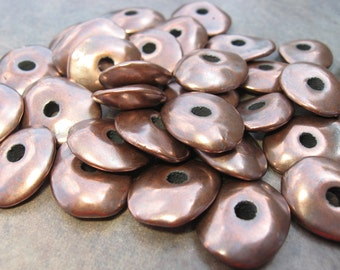 10 Greek Ceramic Beads - 13mm Metalized Greek Bronze Cornflake Beads