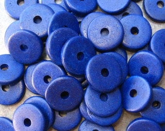 10 Cobalt Blue Mykonos Greek Ceramic 13mm Round Beads