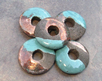 Mykonos Greek Ceramic Beads 20mm Frosted Copper Raku Disk Beads
