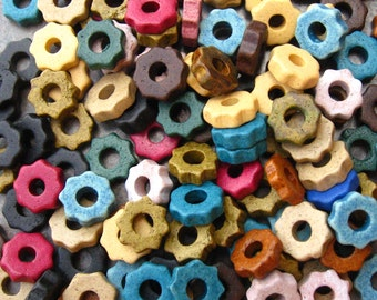 25 Earthy Assortment Tiny Gears Greek Ceramic Beads