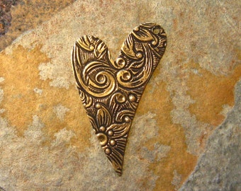 2 Antique Gold Floral Engraved Heart Drop Right Facing -  Trinity Brass Co.