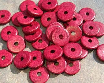 10 Mykonos Greek Ceramic Grenadine 13mm Round Disk Beads