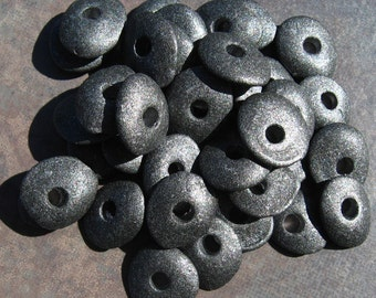 Gunmetal Greek Ceramic Beads 13mm Cornflake Beads -Pick Your Own Bulk Price