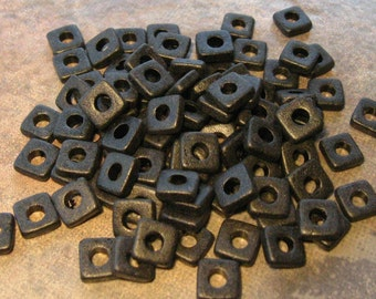 25 Mykonos Greek Ceramic Black Beads - 6mm Square Washer