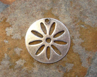 2 Antique Silver Daisy Disk Charms -  Trinity Brass