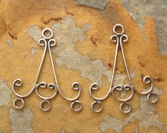 Bali Oxidized Sterling Silver Chandelier Pair - 24 x 20mm