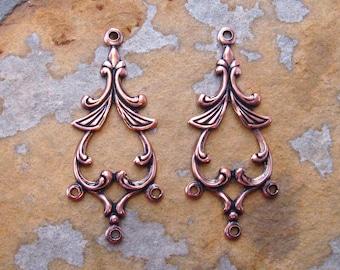 2 Antique Copper Rhoda Drop -Connectors - Chandeliers - Pendants  -  Trinity Brass Co