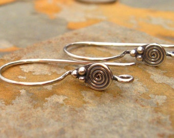 2 Bali Sterling Silver Oxidizized Earwires With Circular Disk  25mm x 13mm - 1 pair