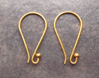 2 Vermeil Ball Earwires Bali 22 x 12mm Low Shipping