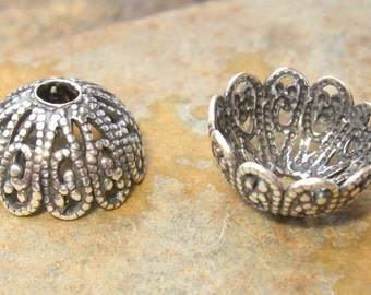 4 Antique Silver 12mm Filigree Bead Caps - Trinity Brass Co.