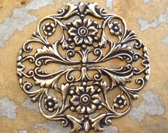 1 Floral Garden Filigree Antique Gold Patina -  Trinity Brass Co.