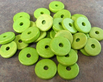 25 Key Lime Greek Ceramic Beads 13mm Round Washers