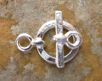Greek Simple Silver Toggle Clasp 18mm - 4 sets